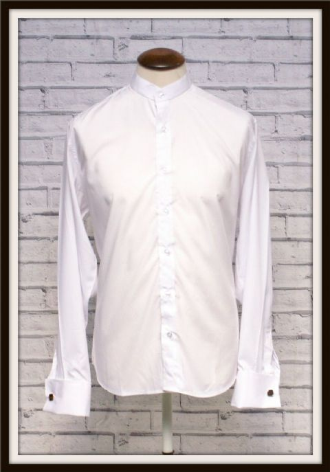 """CLIVE"" WHITE LONG SLEEVE-GRANDAD SHIRT"